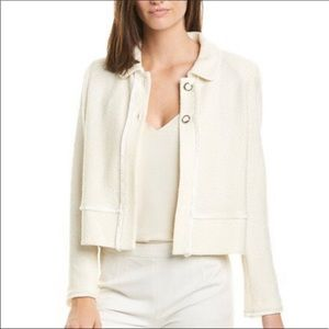 St. John Size 18 Textured Knit Blazer Cream